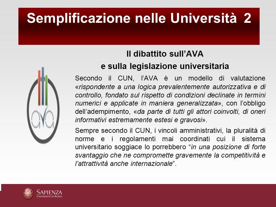 Il dibattito sull'AVA e sulla legislazione universitaria Secondo il CUN, l'AVA è un modello di valutazione «rispondente a una logica prevalentemente a