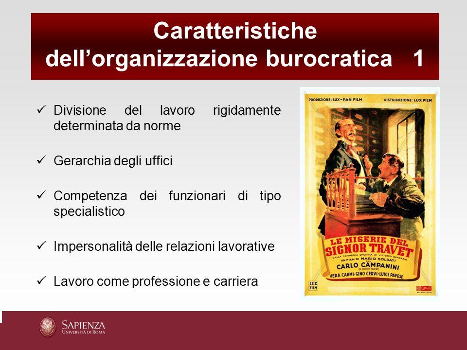 Divisione del lavoro rigidamente determinata da norme Gerarchia degli uffici Competenza dei funzionari di tipo specialistico Impersonalità delle relaz