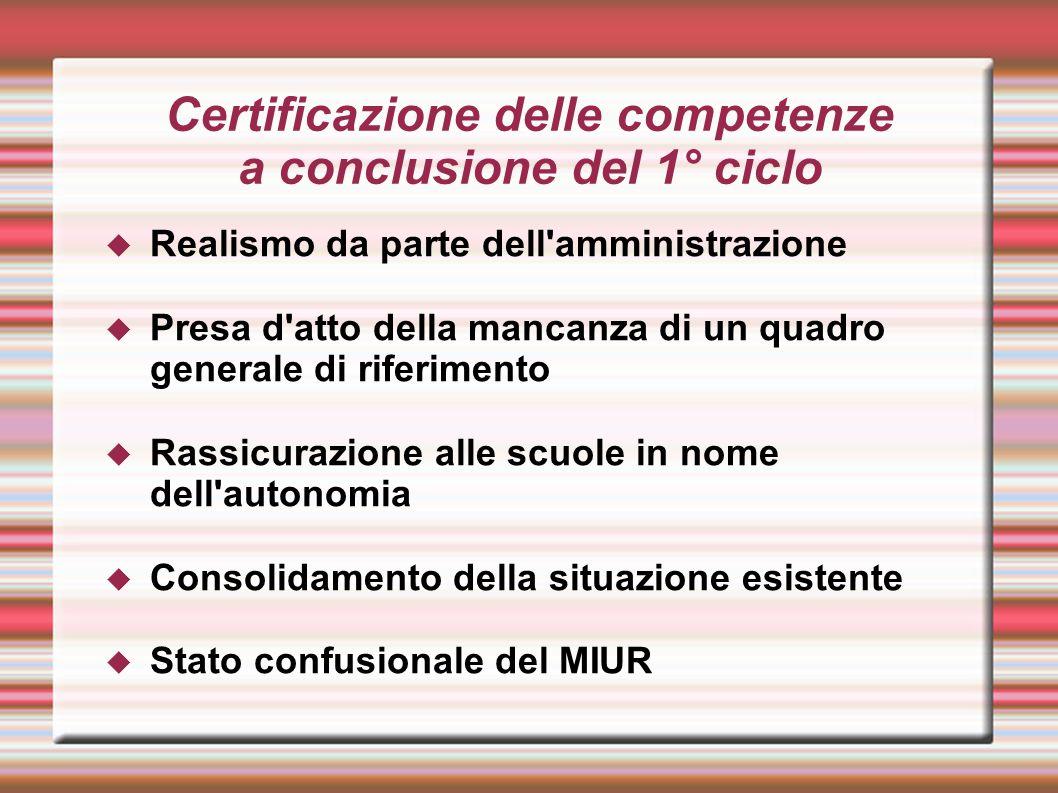 Certificazione delle competenze a conclusione del 1° ciclo  Realismo da parte dell'amministrazione  Presa d'atto della mancanza di un quadro general