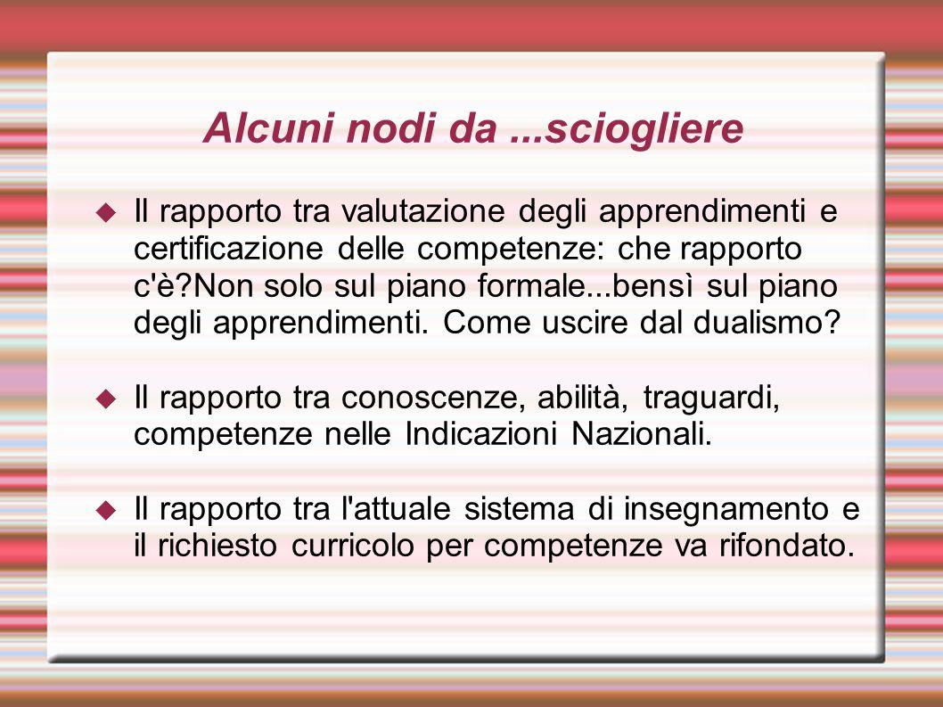 Alcuni nodi da...sciogliere  Il rapporto tra valutazione degli apprendimenti e certificazione delle competenze: che rapporto c'è?Non solo sul piano f