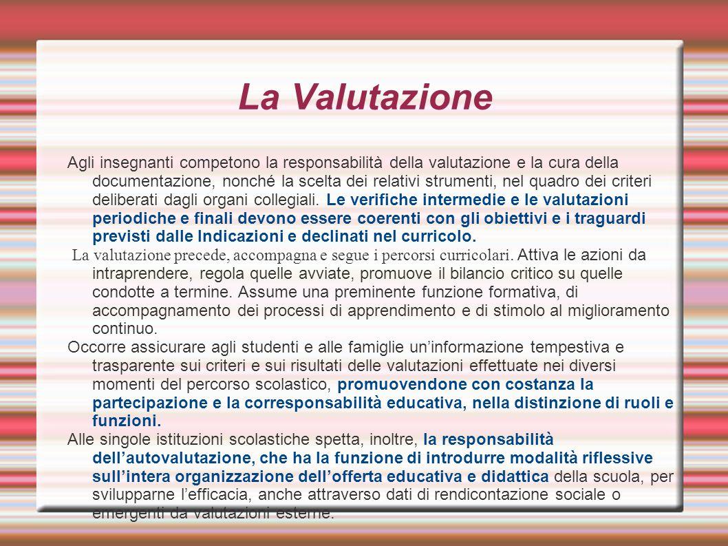 La Valutazione Agli insegnanti competono la responsabilità della valutazione e la cura della documentazione, nonché la scelta dei relativi strumenti,
