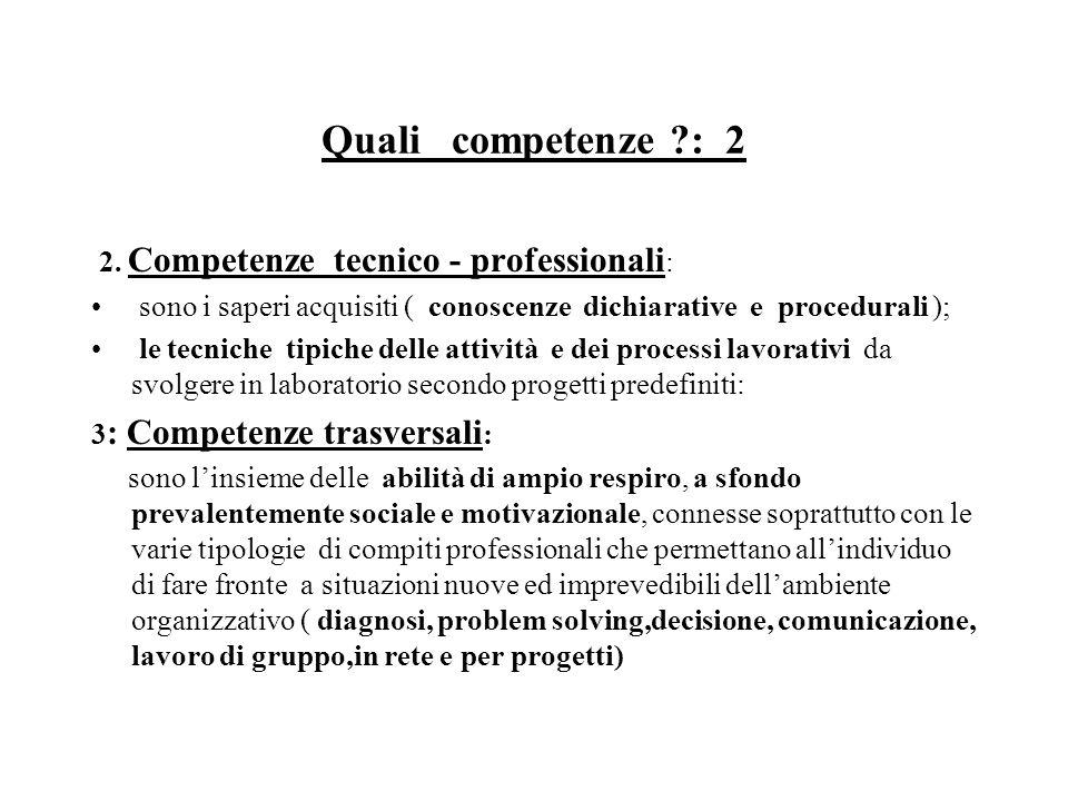 Quali competenze : 2 2.