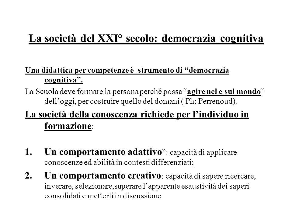 La società del XXI° secolo: democrazia cognitiva Una didattica per competenze è strumento di democrazia cognitiva .