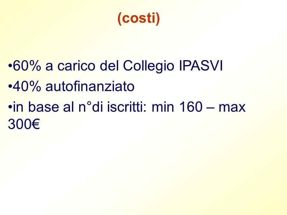 (costi) 60% a carico del Collegio IPASVI 40% autofinanziato in base al n°di iscritti: min 160 – max 300€