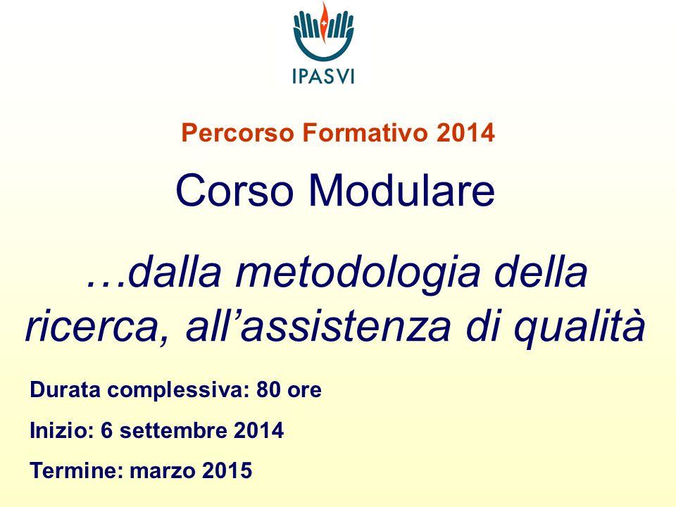 Percorso Formativo 2014 Corso Modulare …dalla metodologia della ricerca, all'assistenza di qualità Durata complessiva: 80 ore Inizio: 6 settembre 2014 Termine: marzo 2015
