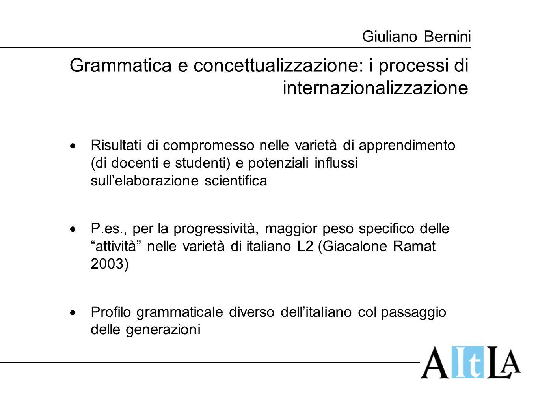 Giuliano Bernini Grammatica e concettualizzazione: i processi di internazionalizzazione  Risultati di compromesso nelle varietà di apprendimento (di