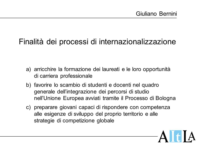 Giuliano Bernini Finalità dei processi di internazionalizzazione a)arricchire la formazione dei laureati e le loro opportunità di carriera professiona