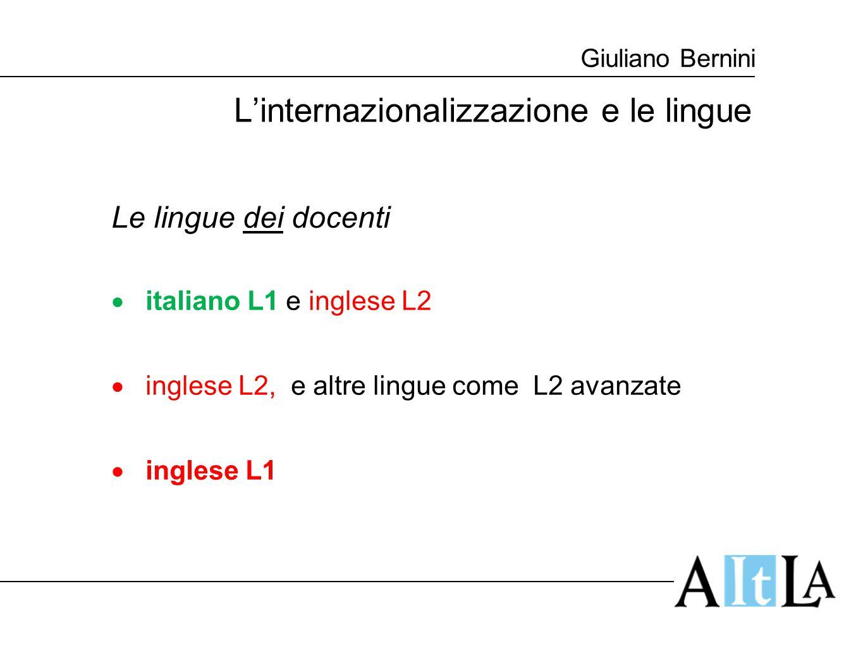 Giuliano Bernini L'internazionalizzazione e le lingue Le lingue dei docenti  italiano L1 e inglese L2  inglese L2, e altre lingue come L2 avanzate 