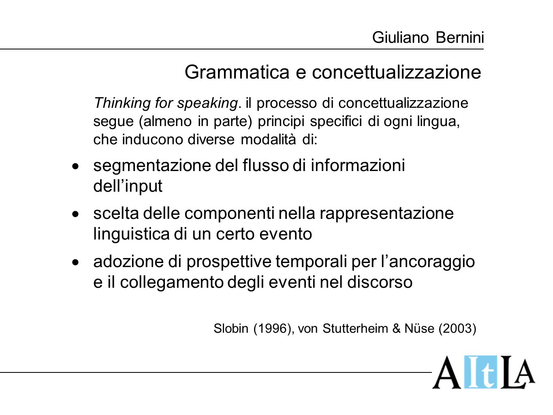 Giuliano Bernini Grammatica e concettualizzazione: la progressività Produzione di forme progressive sulla base di stimoli visivi Inglese:100% per ogni tipo di evento Italiano:41,95% in media cambiamento di stato: > 50% nessun cambiamento di stato: < 40% eventi di moto: < 30% Nederlandese: 30,74% in media Tedesco: 5,93% in media Flecken/von Stutterheim/Carroll (2011)