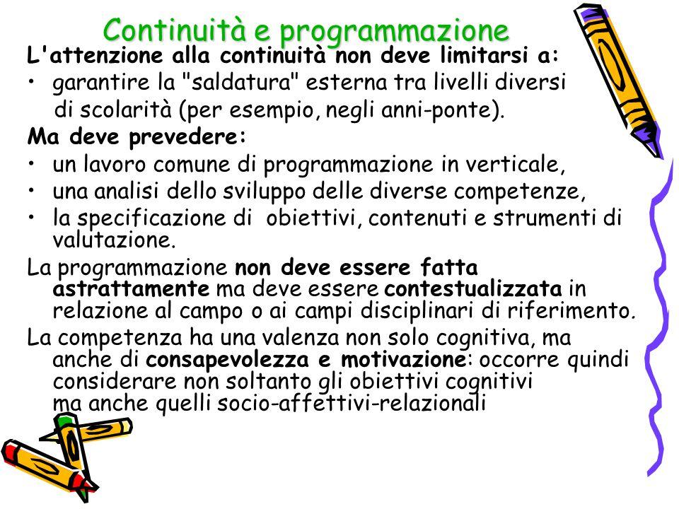 Continuità e programmazione L attenzione alla continuità non deve limitarsi a: garantire la saldatura esterna tra livelli diversi di scolarità (per esempio, negli anni-ponte).