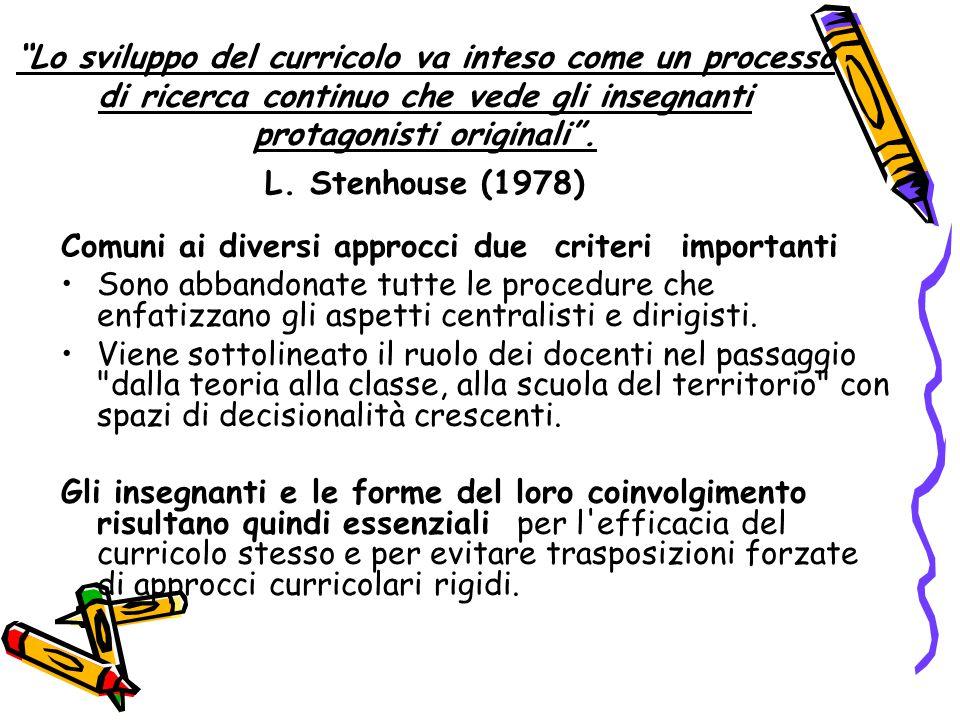 Lo sviluppo del curricolo va inteso come un processo di ricerca continuo che vede gli insegnanti protagonisti originali .