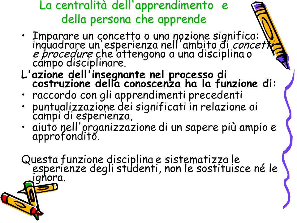 Flessibilità e trasversalità Tenere distinti due aspetti: A) I nessi di apprendimento tra diverse discipline.