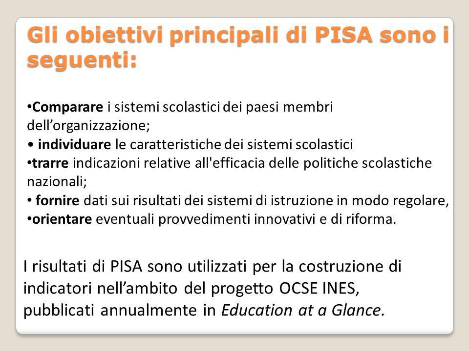 Gli obiettivi principali di PISA sono i seguenti: Comparare i sistemi scolastici dei paesi membri dell'organizzazione; individuare le caratteristiche dei sistemi scolastici trarre indicazioni relative all efficacia delle politiche scolastiche nazionali; fornire dati sui risultati dei sistemi di istruzione in modo regolare, orientare eventuali provvedimenti innovativi e di riforma.