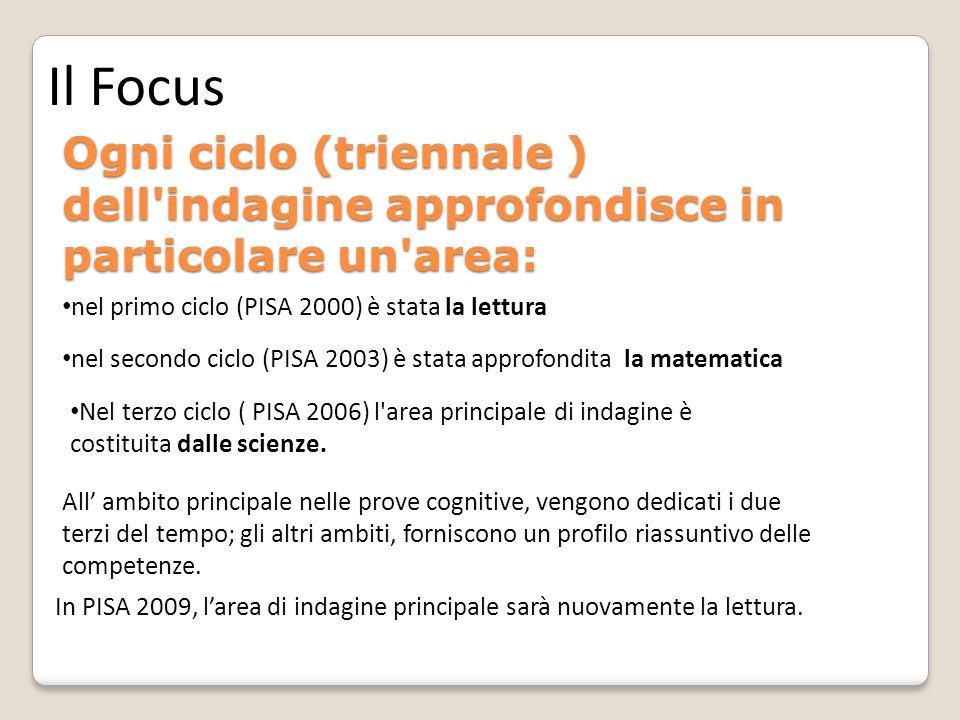Ogni ciclo (triennale ) dell indagine approfondisce in particolare un area: Nel terzo ciclo ( PISA 2006) l area principale di indagine è costituita dalle scienze.