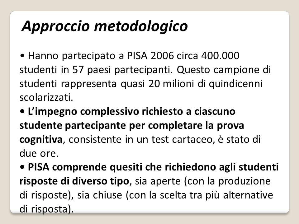 Hanno partecipato a PISA 2006 circa 400.000 studenti in 57 paesi partecipanti.