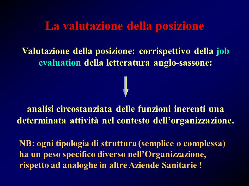 La valutazione della posizione Valutazione della posizione: corrispettivo della job evaluation della letteratura anglo-sassone: analisi circostanziata delle funzioni inerenti una determinata attività nel contesto dell'organizzazione.