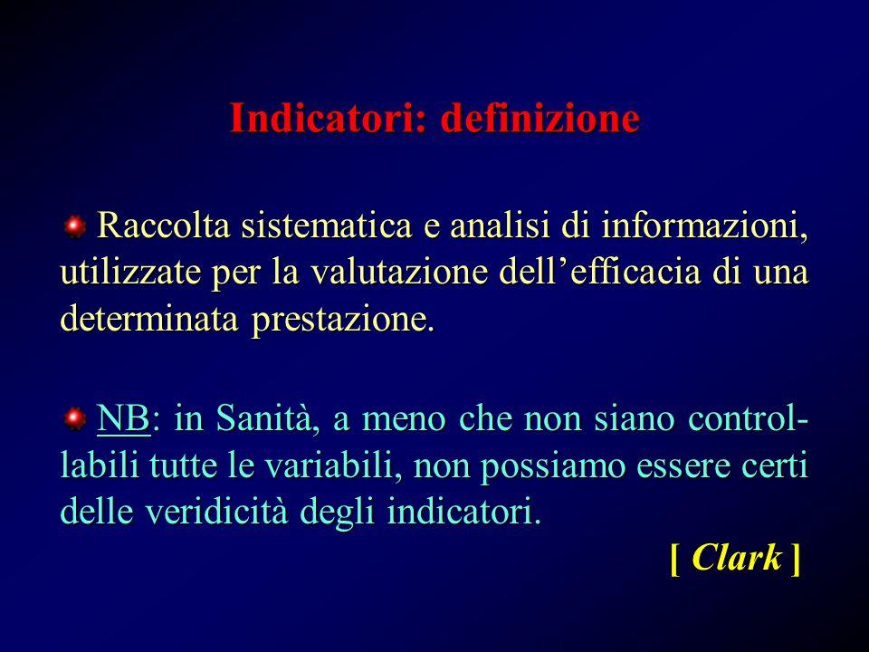 Indicatori: definizione Raccolta sistematica e analisi di informazioni, utilizzate per la valutazione dell'efficacia di una determinata prestazione.