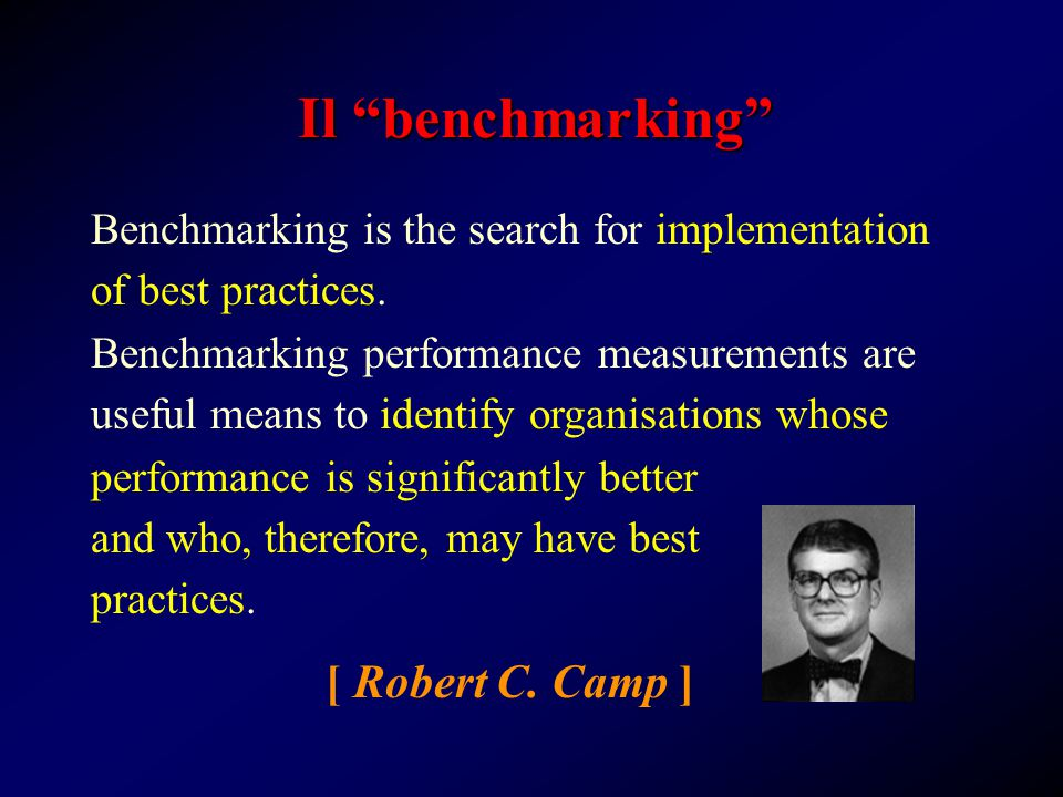 "Il ""benchmarking"" Benchmarking performance measurements are useful means to identify organisations whose [ Robert C. Camp ] Benchmarking is the search"