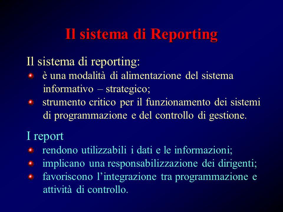 Il sistema di reporting: è una modalità di alimentazione del sistema informativo – strategico; strumento critico per il funzionamento dei sistemi di programmazione e del controllo di gestione.