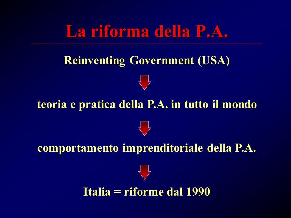 La riforma della P.A. Reinventing Government (USA) teoria e pratica della P.A.