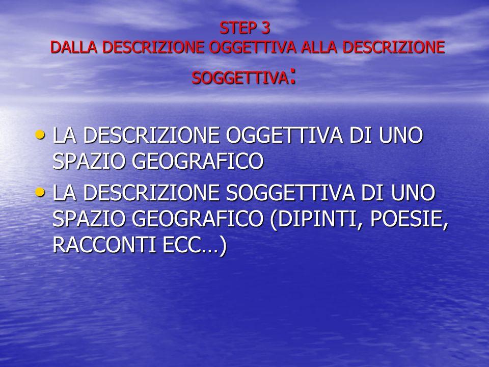 STEP 3 DALLA DESCRIZIONE OGGETTIVA ALLA DESCRIZIONE SOGGETTIVA: LA DESCRIZIONE OGGETTIVA DI UNO SPAZIO GEOGRAFICO LA DESCRIZIONE OGGETTIVA DI UNO SPAZIO GEOGRAFICO LA DESCRIZIONE SOGGETTIVA DI UNO SPAZIO GEOGRAFICO (DIPINTI, POESIE, RACCONTI ECC…) LA DESCRIZIONE SOGGETTIVA DI UNO SPAZIO GEOGRAFICO (DIPINTI, POESIE, RACCONTI ECC…)