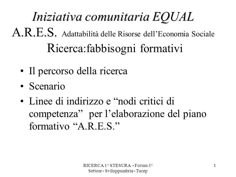 RICERCA 1^ STESURA - Forum 3° Settore - Sviluppumbria - Tucep 1 Iniziativa comunitaria EQUAL Iniziativa comunitaria EQUAL A.R.E.S.