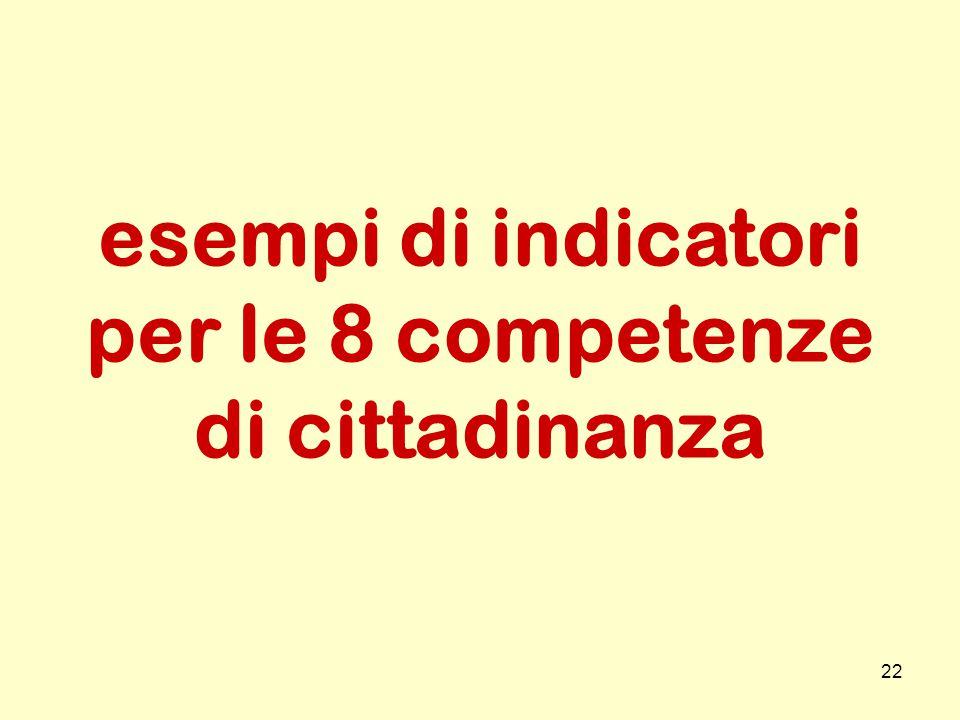 22 esempi di indicatori per le 8 competenze di cittadinanza