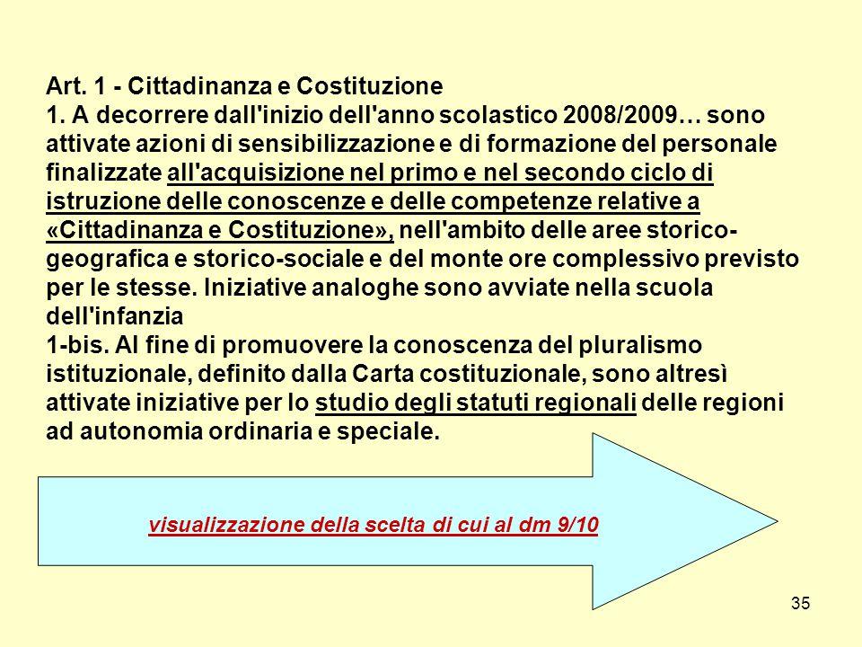 Art. 1 - Cittadinanza e Costituzione 1. A decorrere dall'inizio dell'anno scolastico 2008/2009… sono attivate azioni di sensibilizzazione e di formazi