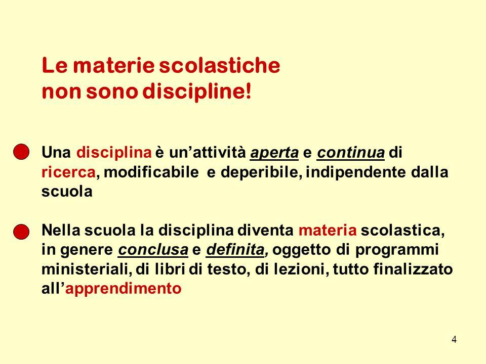 4 Le materie scolastiche non sono discipline! Una disciplina è un'attività aperta e continua di ricerca, modificabile e deperibile, indipendente dalla