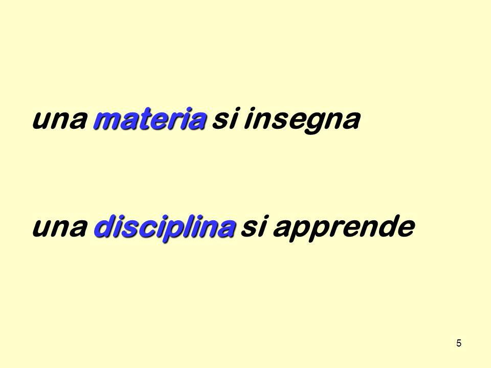 5 materia disciplina una materia si insegna una disciplina si apprende