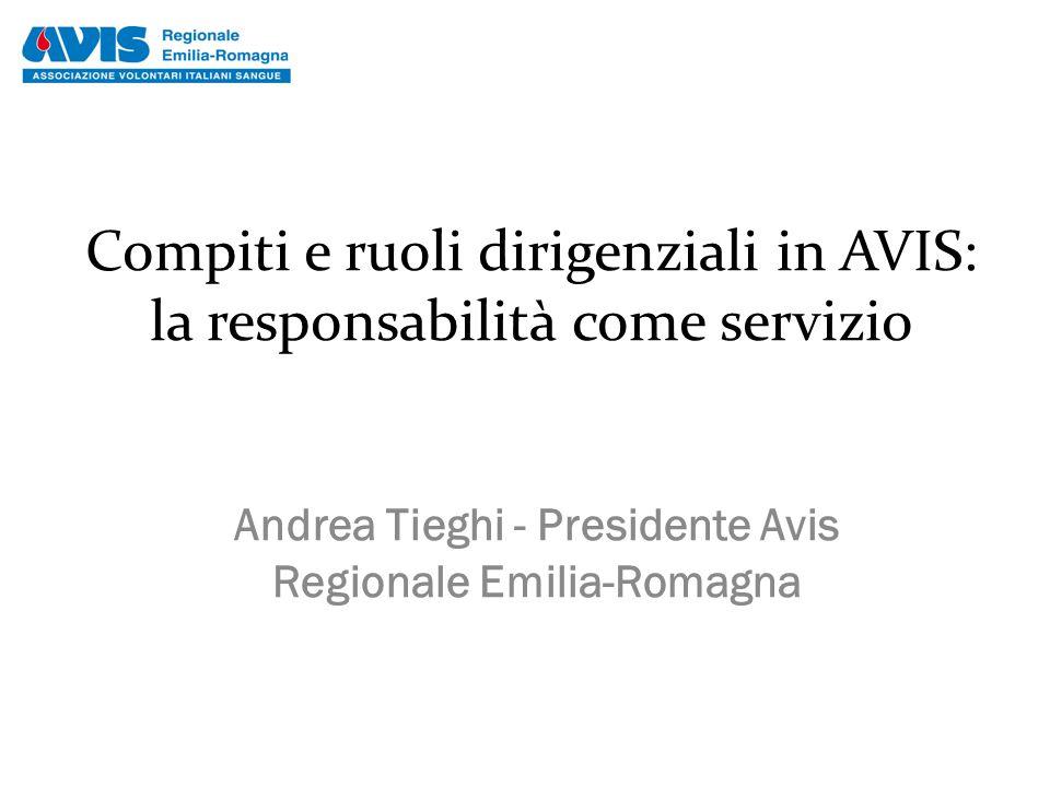 Compiti e ruoli dirigenziali in AVIS: la responsabilità come servizio Andrea Tieghi - Presidente Avis Regionale Emilia-Romagna