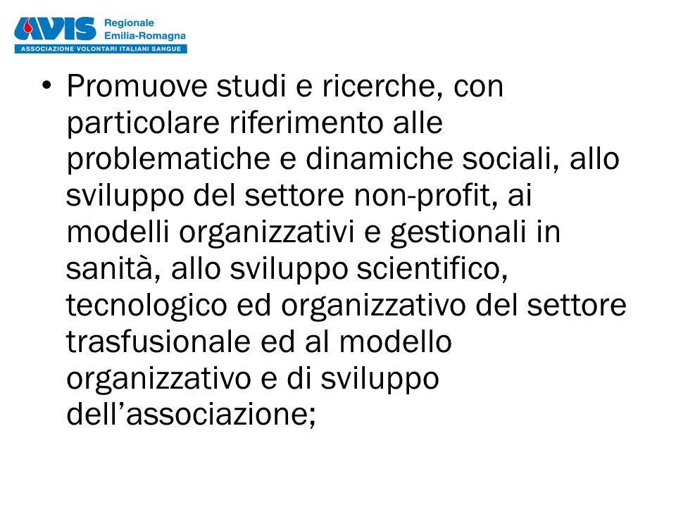 Promuove studi e ricerche, con particolare riferimento alle problematiche e dinamiche sociali, allo sviluppo del settore non-profit, ai modelli organi