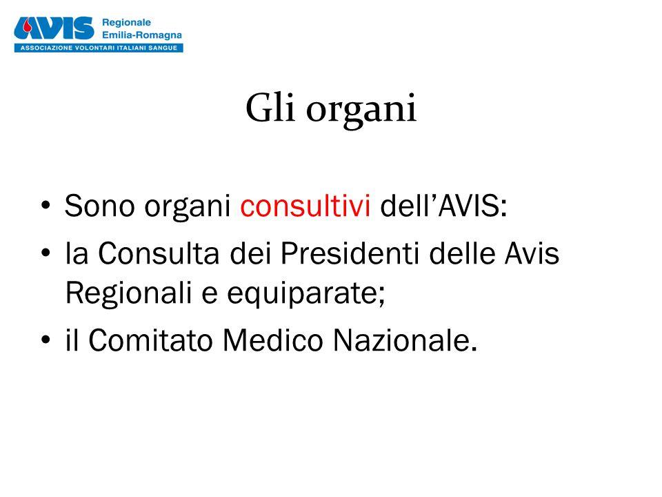 Gli organi Sono organi consultivi dell'AVIS: la Consulta dei Presidenti delle Avis Regionali e equiparate; il Comitato Medico Nazionale.