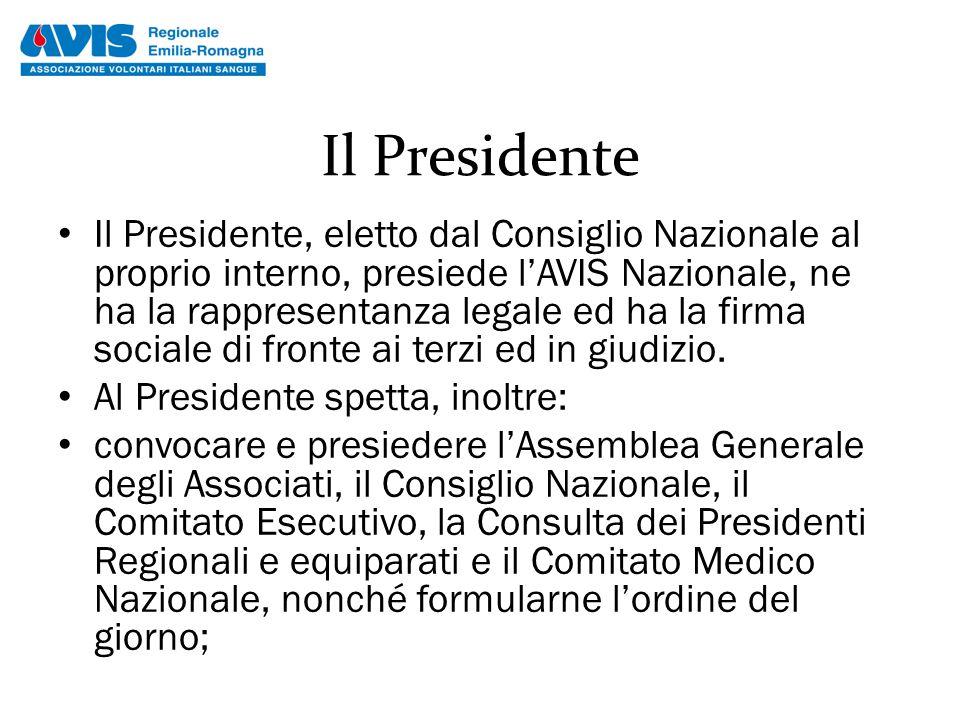 Il Presidente Il Presidente, eletto dal Consiglio Nazionale al proprio interno, presiede l'AVIS Nazionale, ne ha la rappresentanza legale ed ha la fir