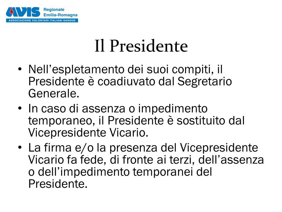Il Presidente Nell'espletamento dei suoi compiti, il Presidente è coadiuvato dal Segretario Generale. In caso di assenza o impedimento temporaneo, il