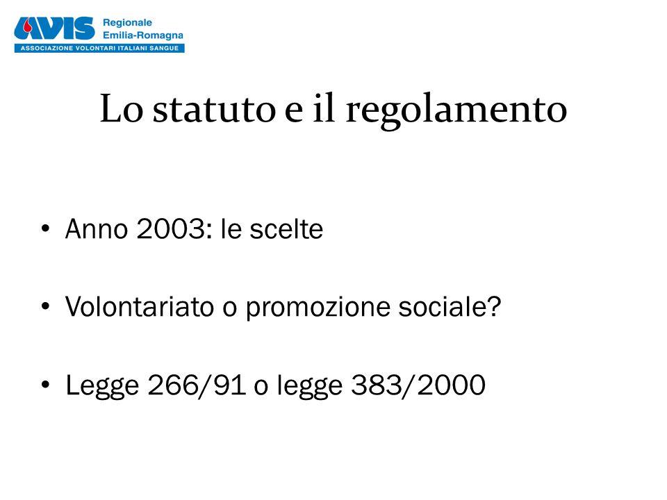 Lo statuto e il regolamento Anno 2003: le scelte Volontariato o promozione sociale? Legge 266/91 o legge 383/2000