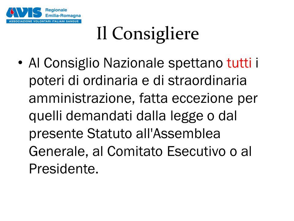 Il Consigliere Al Consiglio Nazionale spettano tutti i poteri di ordinaria e di straordinaria amministrazione, fatta eccezione per quelli demandati da