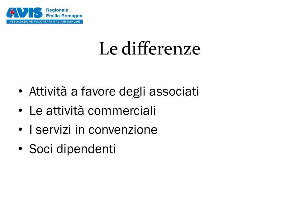 Le differenze Attività a favore degli associati Le attività commerciali I servizi in convenzione Soci dipendenti