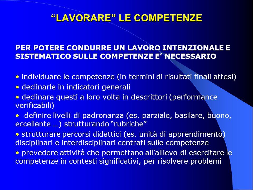 """""""LAVORARE"""" LE COMPETENZE PER POTERE CONDURRE UN LAVORO INTENZIONALE E SISTEMATICO SULLE COMPETENZE E' NECESSARIO individuare le competenze (in termini"""
