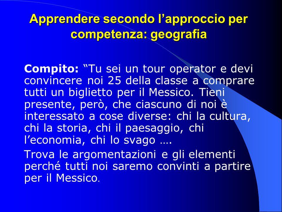 """Apprendere secondo l'approccio per competenza: geografia Compito: """"Tu sei un tour operator e devi convincere noi 25 della classe a comprare tutti un b"""