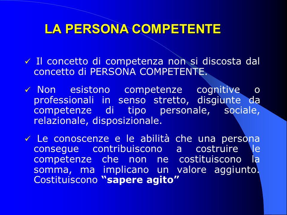LA PERSONA COMPETENTE Il concetto di competenza non si discosta dal concetto di PERSONA COMPETENTE. Non esistono competenze cognitive o professionali