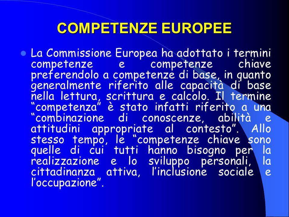 COMPETENZE EUROPEE La Commissione Europea ha adottato i termini competenze e competenze chiave preferendolo a competenze di base, in quanto generalmente riferito alle capacità di base nella lettura, scrittura e calcolo.
