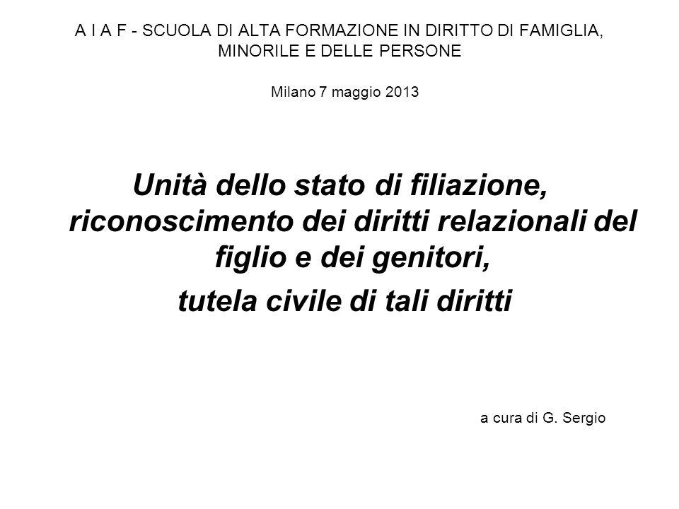 A I A F - SCUOLA DI ALTA FORMAZIONE IN DIRITTO DI FAMIGLIA, MINORILE E DELLE PERSONE Milano 7 maggio 2013 Unità dello stato di filiazione, riconoscime