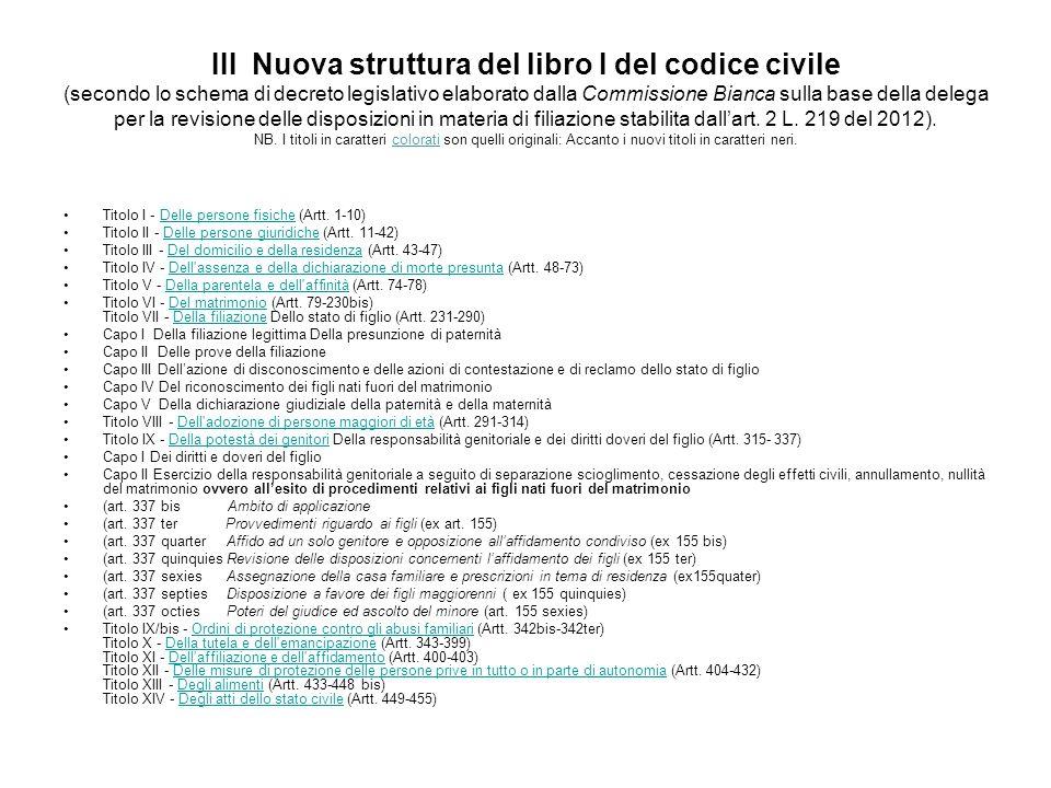III Nuova struttura del libro I del codice civile (secondo lo schema di decreto legislativo elaborato dalla Commissione Bianca sulla base della delega
