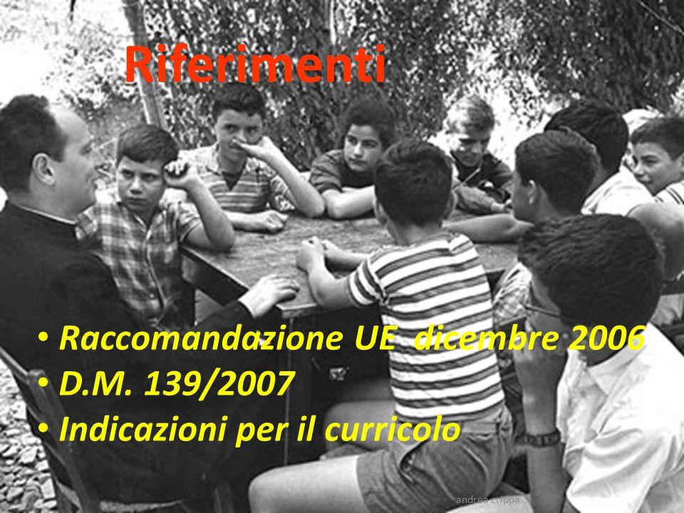 Riferimenti Raccomandazione UE dicembre 2006 D.M. 139/2007 Indicazioni per il curricolo andrea crippa