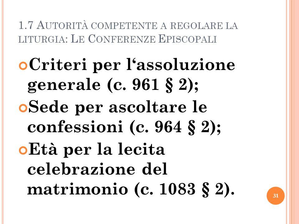 1.7 A UTORITÀ COMPETENTE A REGOLARE LA LITURGIA : L E C ONFERENZE E PISCOPALI Criteri per l'assoluzione generale (c. 961 § 2); Sede per ascoltare le c