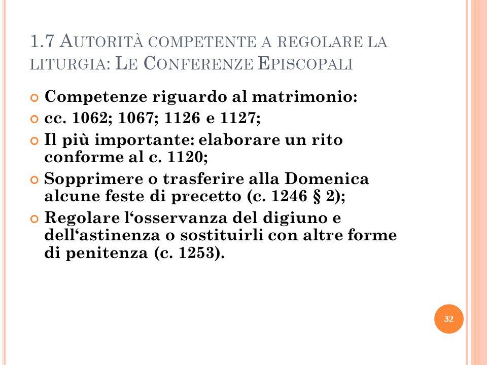 1.7 A UTORITÀ COMPETENTE A REGOLARE LA LITURGIA : L E C ONFERENZE E PISCOPALI Competenze riguardo al matrimonio: cc.