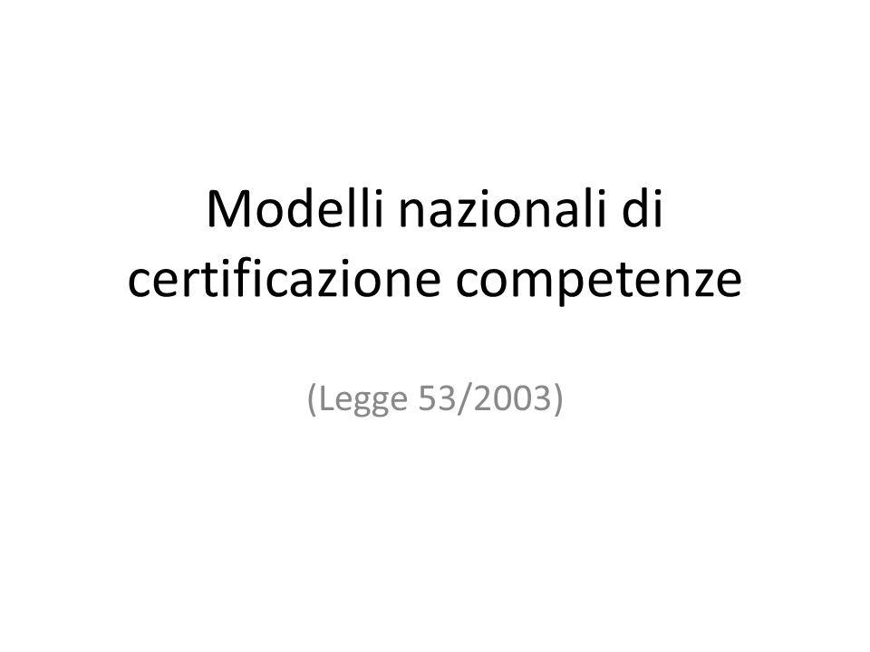 Modelli nazionali di certificazione competenze (Legge 53/2003)