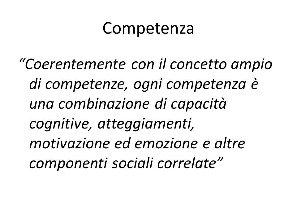 """Competenza """"Coerentemente con il concetto ampio di competenze, ogni competenza è una combinazione di capacità cognitive, atteggiamenti, motivazione ed"""