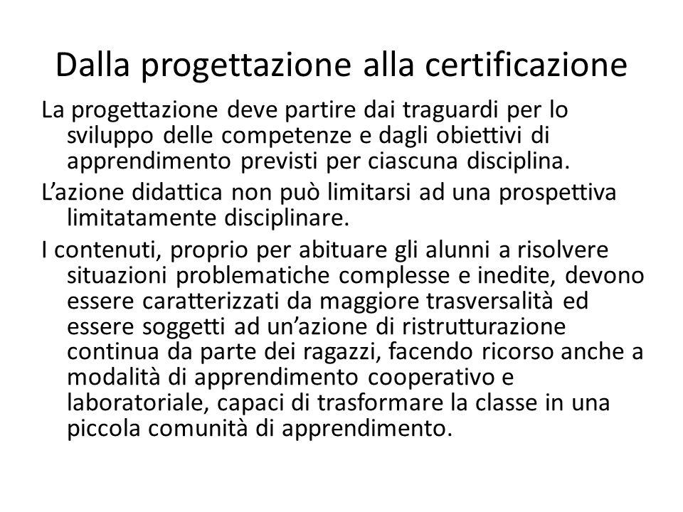 Dalla progettazione alla certificazione La progettazione deve partire dai traguardi per lo sviluppo delle competenze e dagli obiettivi di apprendiment
